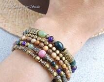 Boho Gypsy Bracelet, Wrap Around Bracelet, Memory Wire Bracelet, Amethyst, Jasper, Rhodonite, Brass, Green Purple Pink