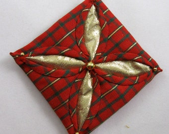 Quilted Christmas Ornament - Red Plaid and Gold Cathedral Window 130