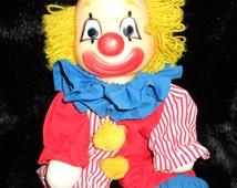 Doll Cheery-Teary Clown Happy or Sad 2-Face Plush Doll Vintage 1982 Dakin