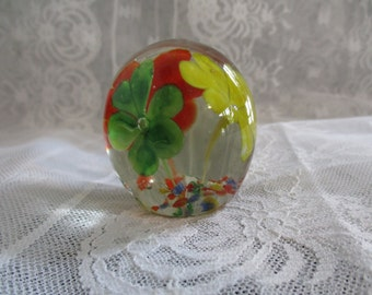 Solid Glass  Flower-Paperweight- Multi Floral Glass  Round Sphere Paperweight