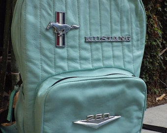 Green Leather Mustang Backpack Handmade One Of A Kind Gift