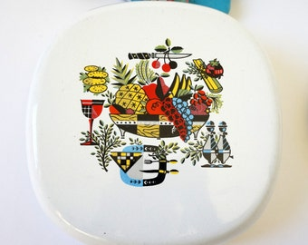 Vintage 1960s Cookware Briard Style Porcelainized Cast Iron Lidded Pan Skillet VGC, Retro Mid Century Early American Decor Kitchenware