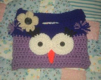 Handmade Crochet Owl Purse Purple and Dark Purple Color