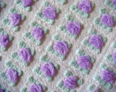 Morgan Jones Lavender Rosebuds Vintage Cotton Chenille Bedspread Fabric 14 x 24 Inches