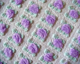 Morgan Jones Lavender Rosebuds Vintage Cotton Chenille Bedspread Fabric 19 x 20 Inches