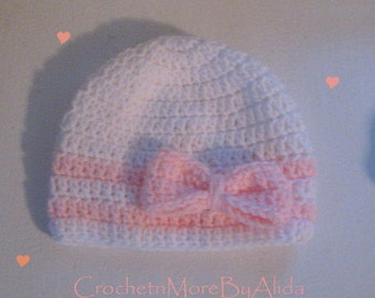 Baby Girl Hat, Crochet Baby Hat, White and Pink Hat, Bow Hat, Sweet Baby Hat, Baby Beanie, Photography Prop, PINK, 3-6 months