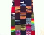 Vtg 70s Hippie Boho Bohemian Sweater Maxi Skirt M Med 6 8 Long Multicolor Black