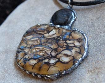 Large Boulder Opal, Pietersite pendant necklace  - unique magical natural stone handmade jewelry - ceremonial jewellery