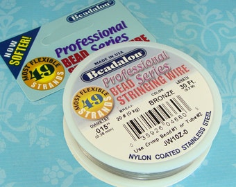 """BRONZE Beadalon Bead Stringing Wire Spool .015"""" 30 ft 49 Strand Jewelry Supplies 7x7 Nylon Coated Stainless Steel for Necklaces & Bracelets"""