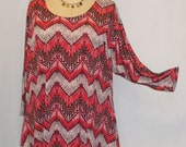 Plus Size Top, Coco and Juan, Lagenlook, Plus Size Tunic, Salmon Khaki Knit Drape Side Tunic Top One Size Bust  to 60 inches
