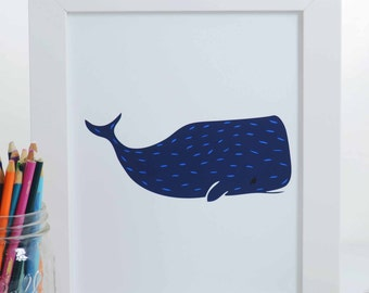 Happy Whale Art Print, whale Illustration, Nautical Art Print, Nursery Decor, Sea Creature Art Print, Ocean Art, Under the Sea Art Print