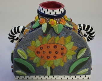 Whimsical Sunflower Vase V1231 - Custom Pieces Available Upon Request