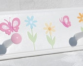 """Daisy Garden . Personalized Children's 28"""" peg rack with 5 Pegs . With Butterflies and Daisies . Kendall"""