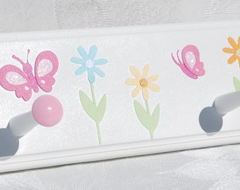 "Daisy Garden . Personalized Children's 28"" peg rack with 5 Pegs . With Butterflies and Daisies . Kendall"
