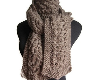 Taupe Knit Scarf,  Cable and Lace Scarf, Mens Scarf, Winter Accessories, Mens Cable Scarf, Winter Scarf, The Stef Scarf