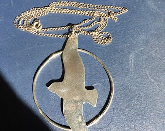 Vintage Sterling Silver Large Seagull Pendant Necklace