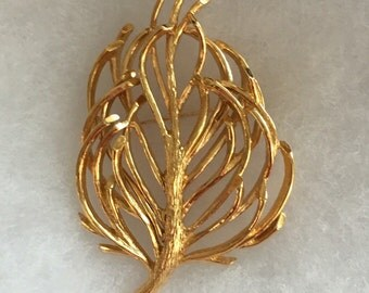 Vintage Monet Large Feather Pin