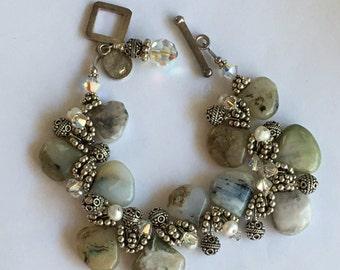 Vintage SAKI Sterling Silver Stone Pearl Rhinestone Chunky Bracelet