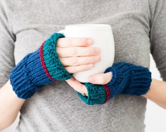 Knitted Fingerless Gloves, Color Block Wool Winter Fingerless Mittens - READY TO SHIP - Phlox Mittens (Navy/Teal)