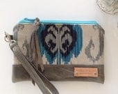 READY to SHIP - Hadley Wristlet - Ikat and Grey Leather - Handmade - Boho Clutch - Bohemian Fashion - Womens Wristlet