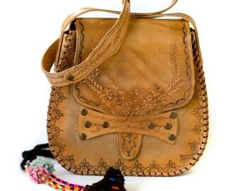 Tooled Leather Handbag - Hand Tooled Leather Bag - Boho Leather Bag - Hippie Leather Bag