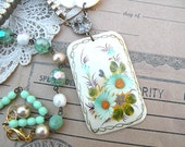 romantic spring recycled jewelry necklace bird assemblage upcycle vintage floral flower garden cream pendant mint green