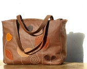 brown leather tote, floral tote, Brown Leather Purse, leather bag, shoulder bag, purse, leather computer bag, handbag, briefcase, autumn