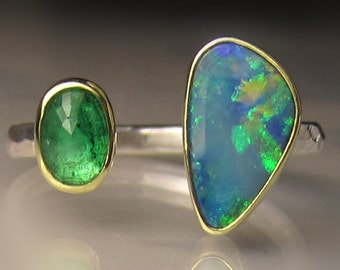 Boulder Opal and Emerald Ring, 18k Gold and Sterling Silver, Open Stone Cocktail Ring - sz 6.75