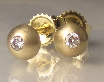 14k Gold Diamond Studs, Tiny Diamond Studs, Gold Diamond Earrings