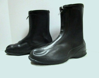 Vintage Boots Over Shoe Galoshes, Deadstock New Old black rubber w/ Zipper overshoes Extra Large sz 12 Lacrosse Brogues, pull over flats Men