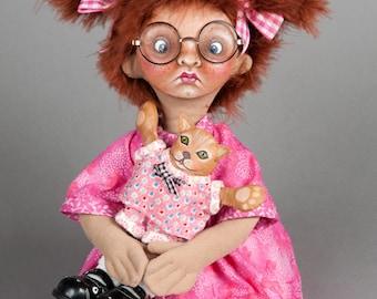 "Cloth Doll, painted doll, ""Fiona Four Eyes"", OOAK original by NIADA artist Donna May Robinson"