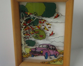 Pink Classic Car, Birds and Trees Reverse Painted Glass on Wood frame. Pilm. Italy