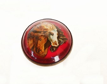 Antique Brooch with Red Button Glass and Horse, 1940s Costume Jewelry, Ladies Equestrian Accessories, Horse Jewelry, Glass Button Brooch