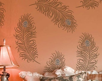 Peacock Feather Grande Wall Art Stencil - Size: Large - Easy Reusable Stencils - Better than Decals