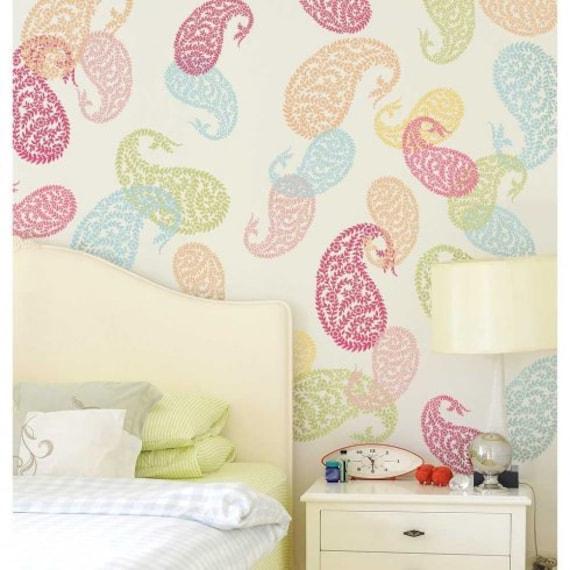 Jaipur paisley wall art stencil small diy wall art for Bedroom stencils designs