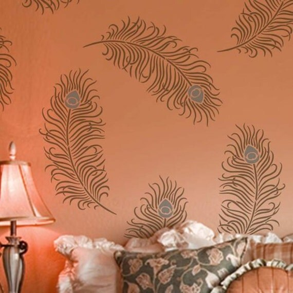 Bohemian Feather Wall Stencil Reusable Stencils For Home: Peacock Feather Grande Wall Art Stencil Size: Large Easy