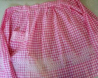 Vintage Accessory Half Apron Pink Check 1960's Stitched Design Trim Apron