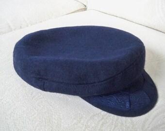 Vintage Accessory Cap Greek Fisherman's Navy Wool Visor Cap