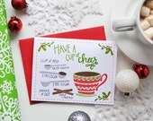 Have a cup of cheer, seasonal Folded Note Cards, Christmas, Stationery, Hand Drawn, Illustration, Holiday, Notecards, Greeting Cards