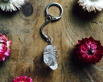 Wire wrapped quartz keychain silver wire jewelry gem mineral healing crystal key chain