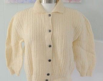 Short Beige Cardigan by Pandora Sweater Virgin Wool 1960s 50s 60s Woodland Cozy