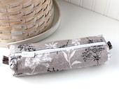 Black and White Botanical Pencil Case Gray Boxy Pouch Cute Floral Pencil Pouch Zipper Pouch