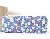 Red and Blue Floral Pencil Pouch Retro Floral Pencil Bag Blue Purse Organizer