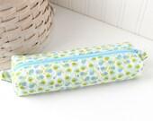 Blue and Green Cute Pencil Case Boxy Pouch Kawaii Snails Zipper Pouch