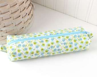 Blue and Green Cute Pencil Case Boxy Pouch Kawaii Snails Zipper Pouch