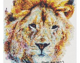 Oliver the Brave Lion - CROSS STITCH PATTERN