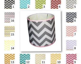 Chevron Lamp Shade 8 x 9 x 8 Drum in your choice of fabric and trim colors - Lampshade