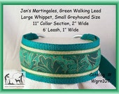 Jansmartigales, Special Order, Green Large Whippet, Small Greyhound, Martingale Collar Leash Combination  wgrn107