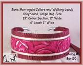 Large Dog Size Martingale Collar and Leash Combination Walking Lead, Burgundy,, Greyhound, Bur110
