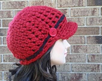 Crochet Womens Newsboy Hat, Crochet Womens Newsboy Cap, Crochet Billed Cap, Crochet Red Billed Hat, Crochet Womens Visor hat beanie